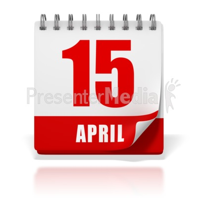 Office Calendar April 15 Tax Day Presentation clipart