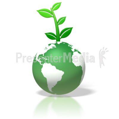 Green Earth Leaves Growing On Top Presentation clipart