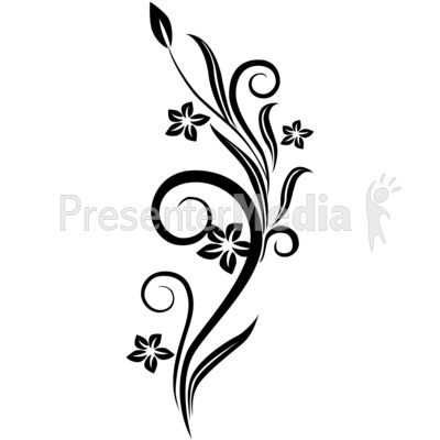 Vines Swirl Black Flowers Presentation clipart