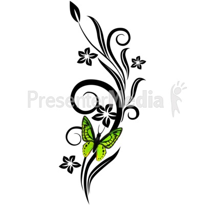 Black Vines Grunge With Butterfly Presentation clipart