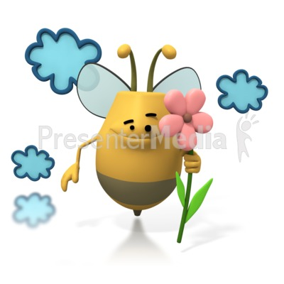 Bee Flying Holding Flower Presentation clipart