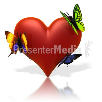 Butterflies Resting On Heart Presentation clipart