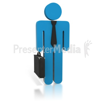 Blue Business Stick Figure Briefcase Presentation clipart