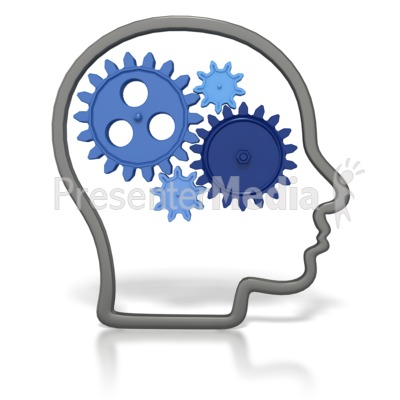 Gears In Head Outline  Presentation clipart