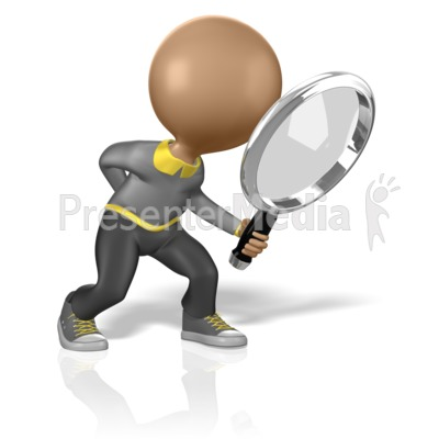 Stick Figure Searching for Clues Presentation clipart