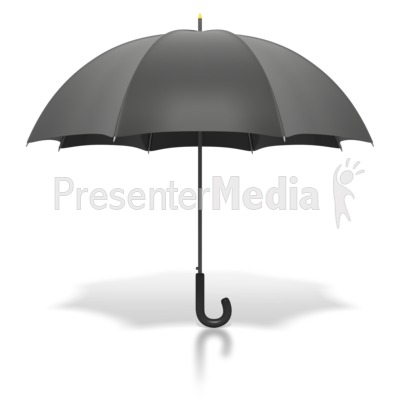 Black Umbrella Standing Upright Presentation clipart