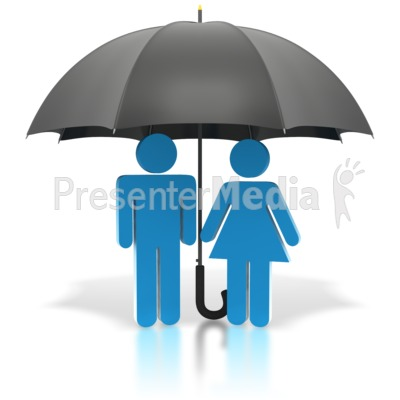 Couple Standing Under Black Umbrella Presentation clipart