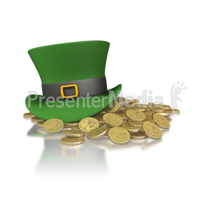 Irish Hat And Gold Presentation clipart