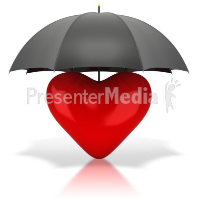 Heart Under Umbrella Presentation clipart