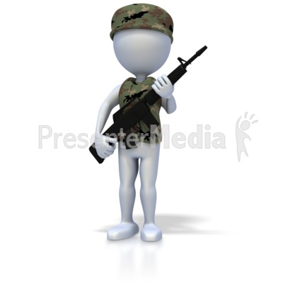Military Stick Figure With Rifle Presentation clipart