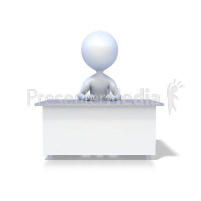 Stick Figure At Desk Presentation clipart