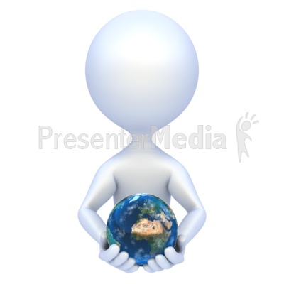 Stick Figure Hold Earth Presentation clipart