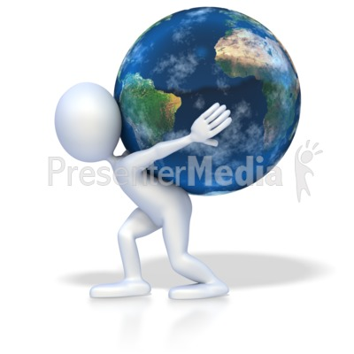 Stick Figure World on Shoulders Presentation clipart