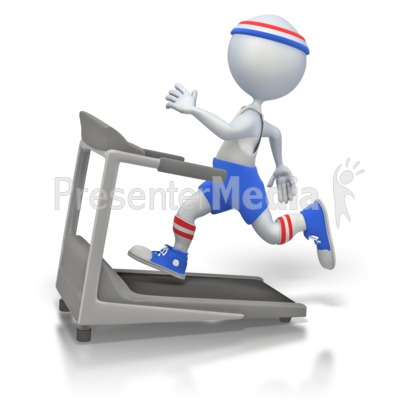 Working Out on Treadmill Presentation clipart
