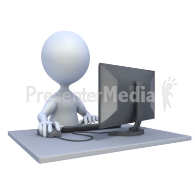 3D Figure Computer Workstation Presentation clipart