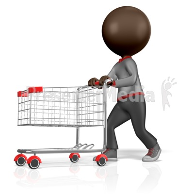 3d figure with shopping cart home and lifestyle great clipart