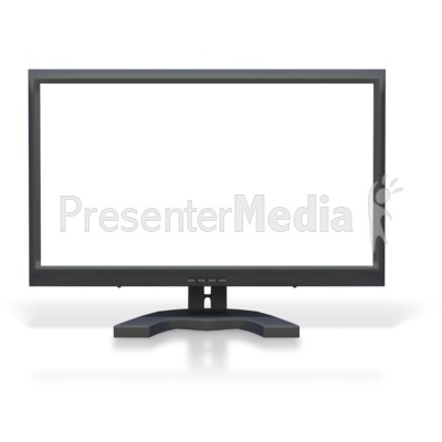 Computer Monitor Blank White Screen Presentation clipart