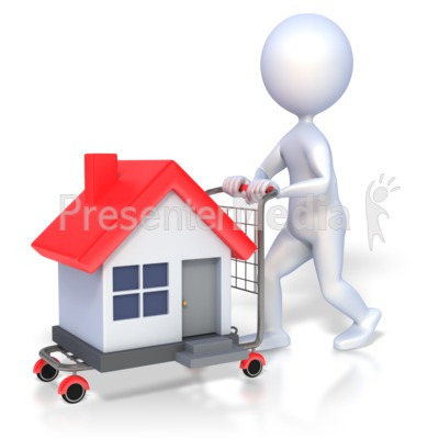 3D Figure House Shopping Presentation clipart