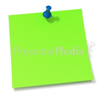 Thumbtack In Green Sticky Note Presentation clipart