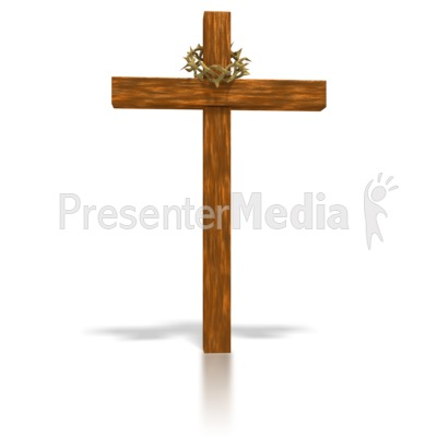 Wooden Cross and crown Presentation clipart