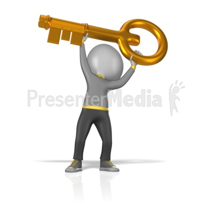 Figure Holding Gold Key Presentation clipart
