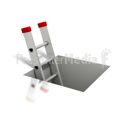 Ladder Coming Out of Square Hole Presentation clipart