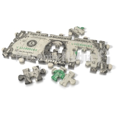 One Dollar Bill Puzzle Presentation clipart