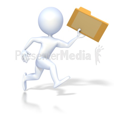 3D Figure Running with File Folder Presentation clipart