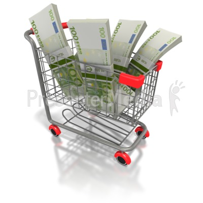 Shopping Cart Euro Money Presentation clipart
