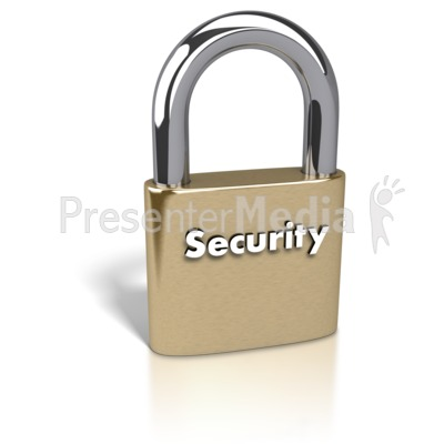 Gold Padlock Security Text Presentation clipart