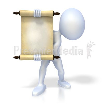Figure Holding Scroll Presentation clipart