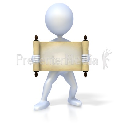 Figure Holding Old Scroll Presentation clipart