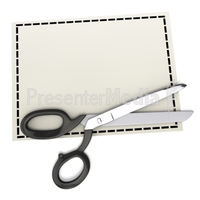 Scissors on Top of Blank Coupon Presentation clipart