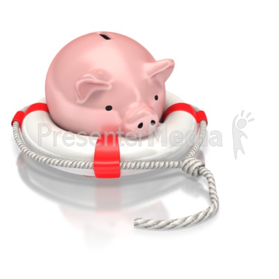 Piggy Bank Life Preserver Presentation clipart