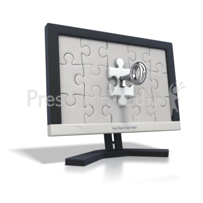 Key insert into puzzle piece on monitor Presentation clipart