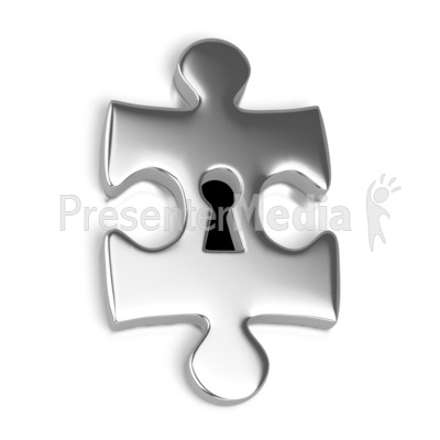 Silver Puzzle Piece Key Hole Presentation clipart
