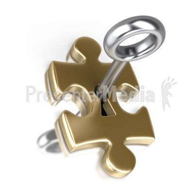 Gold Puzzle Piece Silver Key Insert Presentation clipart