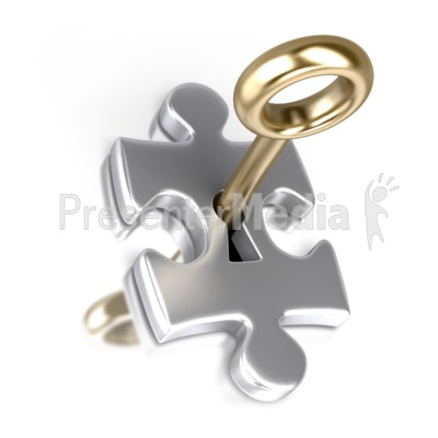 Silver Puzzle Piece Gold Key Insert Presentation clipart