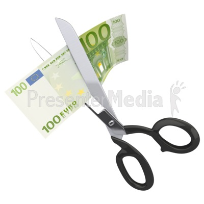 Scissors Clipping a Hundred Euro Presentation clipart