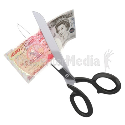 Scissors Clipping Fifty British Pounds Presentation clipart