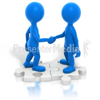 Two Blue Stickmen Handshake Puzzle Presentation clipart