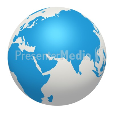 Blue White Earth Europe Africa Asia Presentation clipart