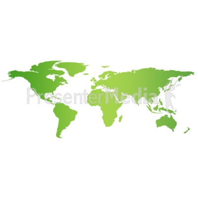 Green Flat World Map   Education And School   Great Clipart For  Presentations   Www.PresenterMedia.com