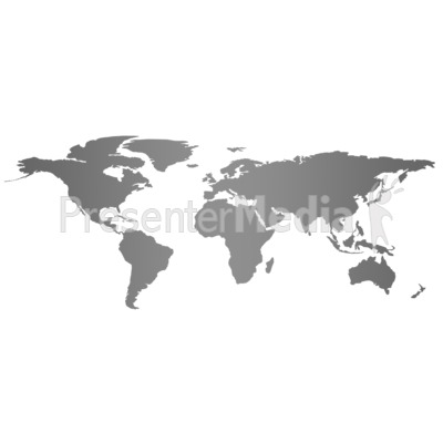 Gray Flat World Map Presentation clipart