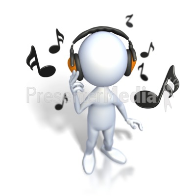 Stick Figure Listening To Music Presentation clipart