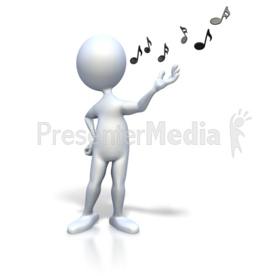 Stick Figure Singing Music Notes Presentation clipart