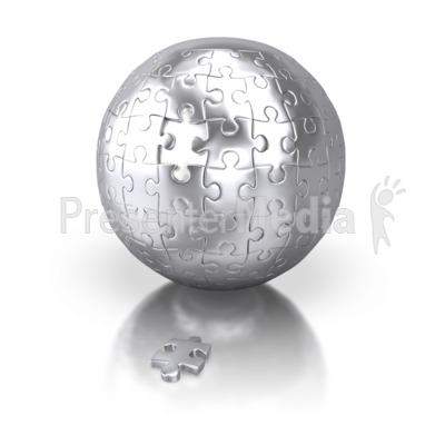 Shiny Silver Puzzle Sphere Missing Piece Presentation clipart
