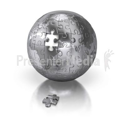 Shiny Silver Puzzle Globe Africa Europe Presentation clipart
