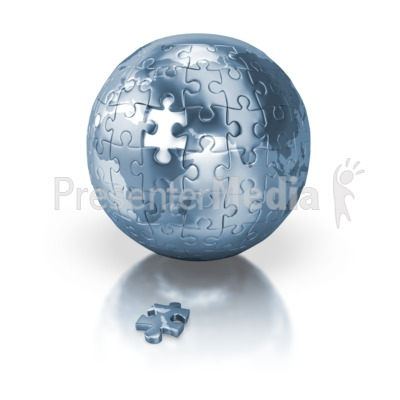 Shiny Blue Puzzle Globe Africa Europe Presentation clipart