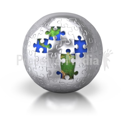 Silver Puzzle Pieces Revealing Earth Presentation clipart